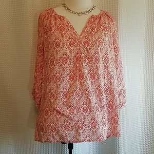 Lucy & Laurel red white tunic 3/4 sleeves rayon